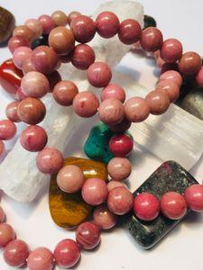 rhodonitt rhodonite armbånd steinsmykke bracelet mineral smykke krystaller beskrivelse egenskap norsk butikk mystica kjøpe
